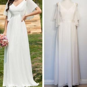 EVER PRETTY white v neck cold shoulder dress 10